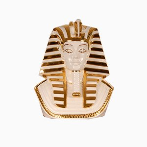 Italian Hollywood Regency / Egyptian Revival Gilt Porcelain Bust of Tutankhamun from Zanotta, 1970s