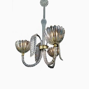 Three-Light Torchon Ceiling Lamp by Ercole Barovier for Barovier & Toso, 1930s