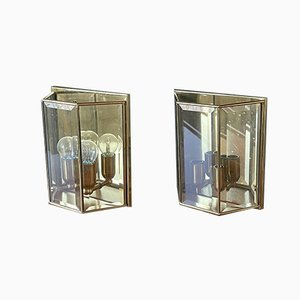 Vintage French Brass & Glass Sconces, 1980s, Set of 2