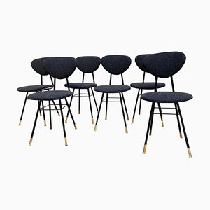 Italian Black Metal, Boucle Fabric & Brass End Chairs, 1960s, Set of 6