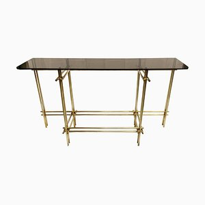 Brass & Smoked Glass Console by Renato Zevi, Italy, 1970s