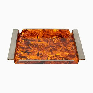 Serving Tray in Tortoise Lucite, 1970s