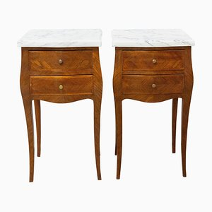 Louis XV Style French Nightstands with Mable Top, Set of 2
