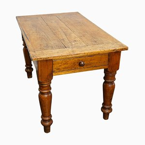 Antique French Pine Farmhouse Kitchen Table, Late 19th Century