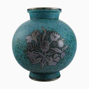 Argenta Art Deco Vase aus glasierter Keramik von Wilhelm Kage für Gustavsberg