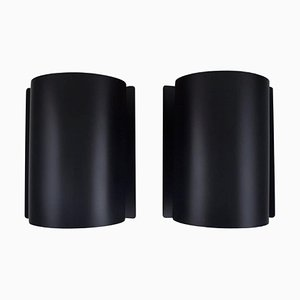 Scandinavian Wall Lamps in Black Lacquered Metal, 1970s, Set of 2