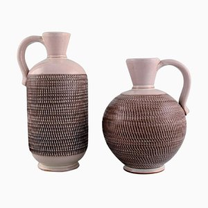Töreboda Vases with Handles in Glazed Ceramics, Sweden, Set of 2