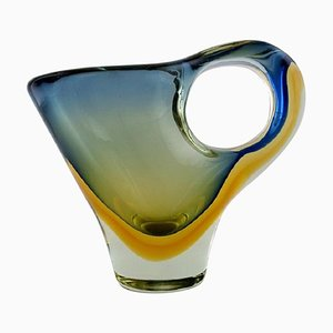 Large Sculptural Murano Vase / Pitcher in Mouth-Blown Art Glass, 1960s