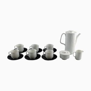 Porcelain Black Six Person Coffee Service from T. Wirkkala for Rosenthal Studio-Line, Set of 15