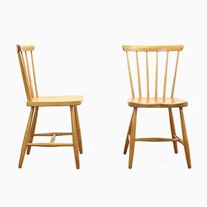 Birch Wood Railings Seats, Set of 2