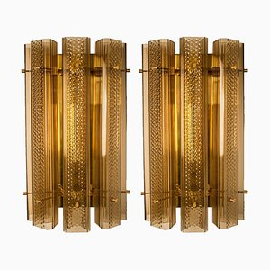 Extra Large Murano Wall Sconces in Glass and Brass, Set of 2