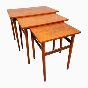 Mid-Century Danish Teak Mimiset Nesting Tables from Bijzettafels, Set of 3