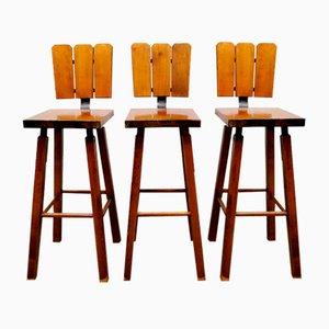 Vintage Brutalist Style Barstools, Set of 3