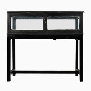 Glass Display Black Wooden Table