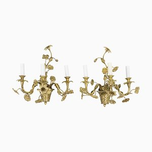 Louis XV Style Wall Sconces in Gilt Bronze, 1900s, Set of 2