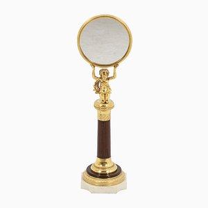 Petit Miroir en Palissandre et Bronze Doré
