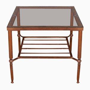 Französischer Messing und Glas Tisch, 1950er
