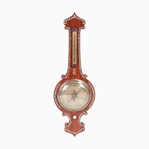 Antique Hardwood Inlaid Banjo Barometer, 19th Century