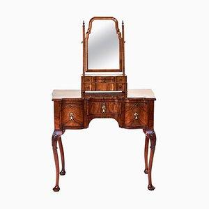 Antique Georgian Revival Burr Walnut Dressing Vanity Table and Mirror