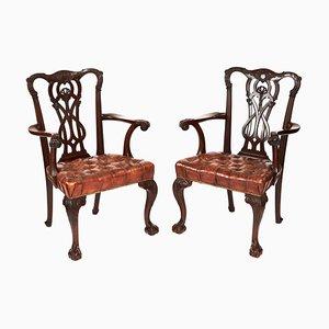 Antike Elbow Chippendale Stühle aus Mahagoni, 19. Jh., 2er Set