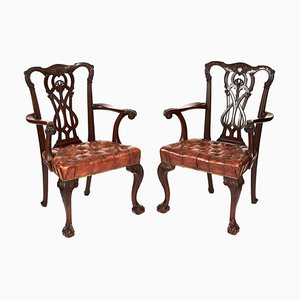 Antique Mahogany Chippendale Style Desk Elbow Chairs, 19th Century, Set of 2