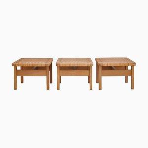Tables d'Appoint ou Bancs en Rotin et en Rotin par Borge Mogensen, 1950s, Danemark, Set de 3