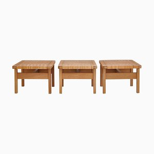 Tavolini o panchine in quercia e canna di Borge Mogensen, anni '50, Danimarca, set di 3