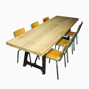 Industrial Dining Table with Leaf Wood and Cast Iron Legs