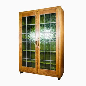 Antique Bookcase with Glass Doors, 1920s