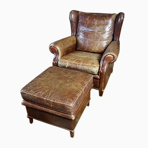 Vintage Brown Leather Chair with Ottoman, Set of 2