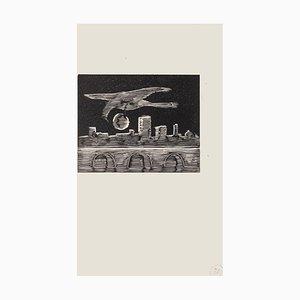 Mino Maccari, The Bird, Woodcut on Paper, Mid-20th Century