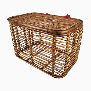 Italian Bamboo Rattan Basket, 1960s