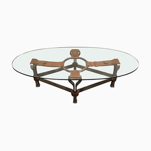 Mid-Century Iron and Leather Coffee Table by Jacques Adnet, 1960s