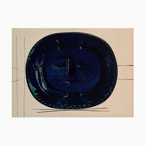Gravure Vintage en Céramique de Portrait Bleu d'après Pablo Picasso