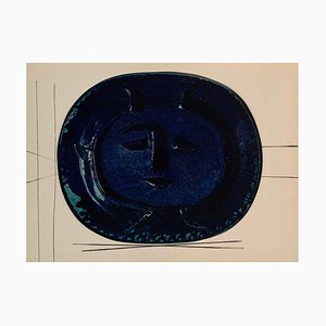 Vintage Keramik Druck von Blue Portrait nach Pablo Picasso
