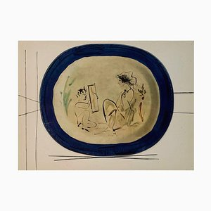 Vintage Ceramic Print of Girl & Mirror after Pablo Picasso