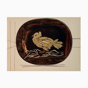 Vintage Ceramic Print of Dove after Pablo Picasso