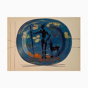 Vintage Keramik Druck von Shepherd nach Pablo Picasso