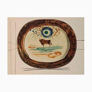 Vintage Keramik Druck von Bull nach Pablo Picasso