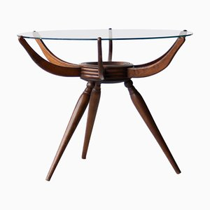 Rounded Wooden Italian Spider Table by Carlo De Carli, 1950s