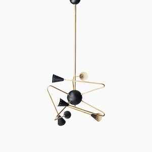 Triangular Black Brass Ceiling Lamp, Italy, 1950s