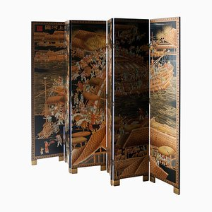Asian Black Gold Coromandel Lacquered Wooden Screen, Phillippines, 1920s
