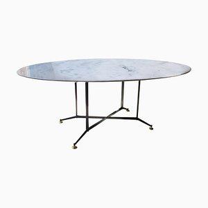 Table de Salle à Manger Ovale en Marbre de Carrare, Italie, 1950s