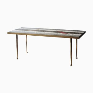 Mid-Century Brass Multicolored Coffee Table, Italy, 1950s