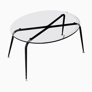 Mid-Century Oval Black Glass and Brass French Center Table, 1950s