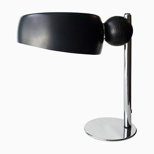 Mid-Century Chromed Black Round Italian Table Lamp, 1970s