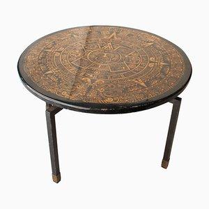 Runder Mid-Century Tisch aus Schwarzem Gold, Italien, 1950er