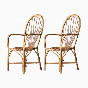 Mid-Century Bamboo Wicker Armchairs, France, 1970s, Set of 2