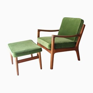 Mid-Century Danish Oak Green Velvet Lounge Chair by Ole Wanscher, 1960s
