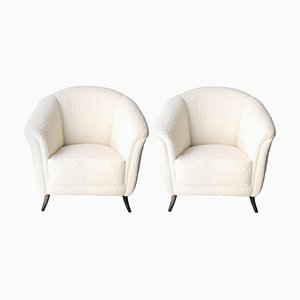 Mid-Century Black and White Wood Bouclé Armchairs, France, 1950s, Set of 2